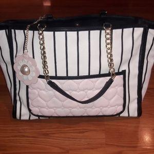 Betsy Johnson tote bag purse black white pink